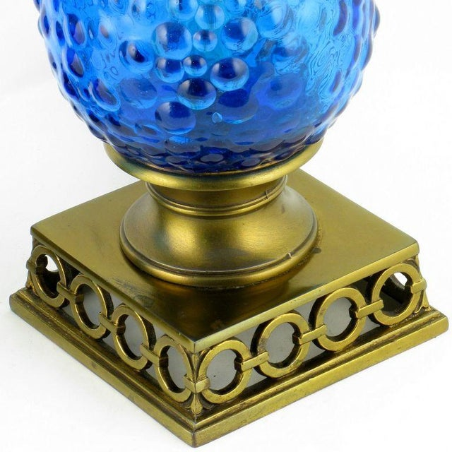 Pair Bubble Textured Blue Glass Table Lamps With Brass Accents - Image 7 of 8