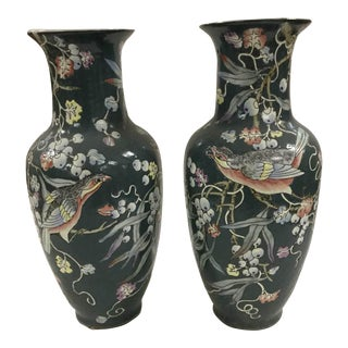 Black Porcelain Chinese Vintage Flower and Bird Vases - A Pair
