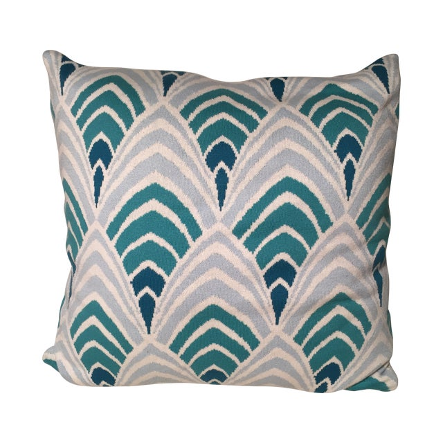 Knit Pillow With Aqua Art Deco Geometric Pattern - Image 1 of 3