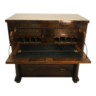 Antique American Empire Carved Mahogany Butler's Secretary Writing Chest Desk