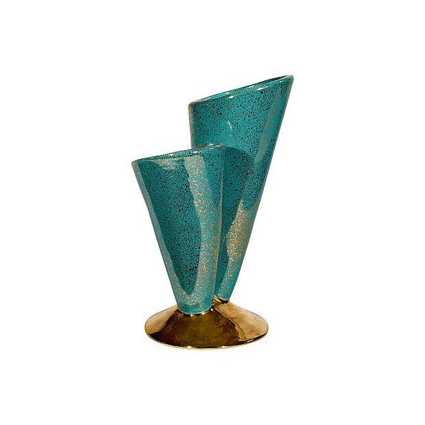 Image of 1950's Turquoise Gilt-Accented California Vase