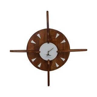 Belart Mid-Century Walnut Hanging Wall Clock