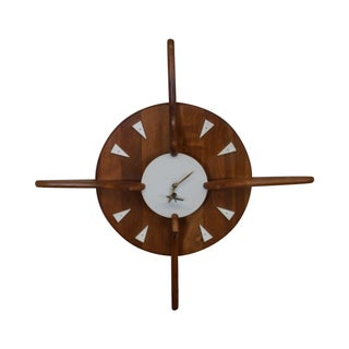 Belart Mid-Century Walnut Hanging Wall Clock