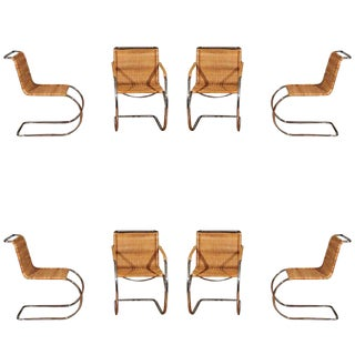 Pristine Set of Eight Italian Wicker Chairs in the Style of Mies Van Der Rohe
