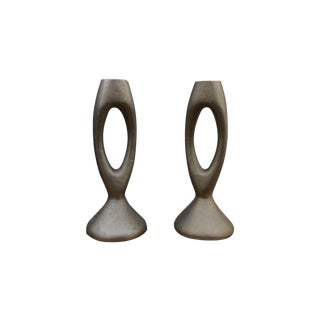 1960s Modernist Cast Iron Candle Holders - A Pair