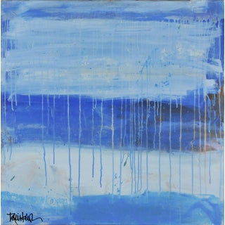 Blue Bands With Drips Painting by Robbie Kemper