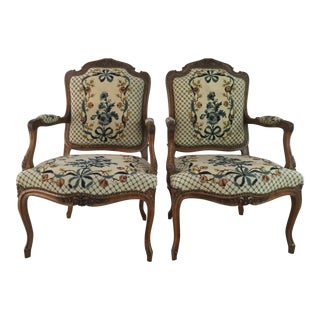 Superior French Needlepoint Chairs - A Pair