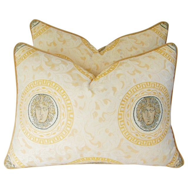 Custom Italian Versace-Style Medusa Pillows - Pair - Image 1 of 9