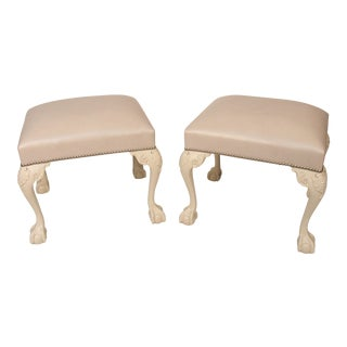 Chippendale Ivory Painted and Leather Upholstered Benches - a Pair