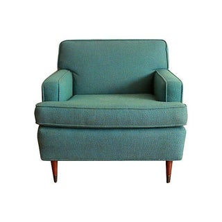 Mid-Century Nubby Turquoise Club Chair