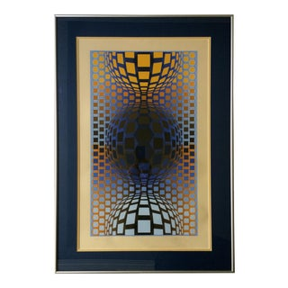 """Three Globes"" Signed Vasarely Serigraph"