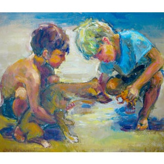 Jean Holdenried Oil Painting Two Boys & Dog on Beach