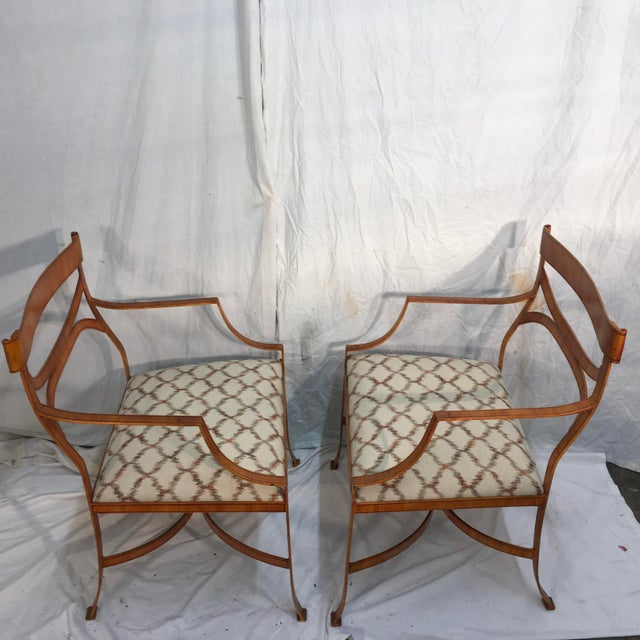 Image of Maitland Smith Tole Armchairs - a Pair