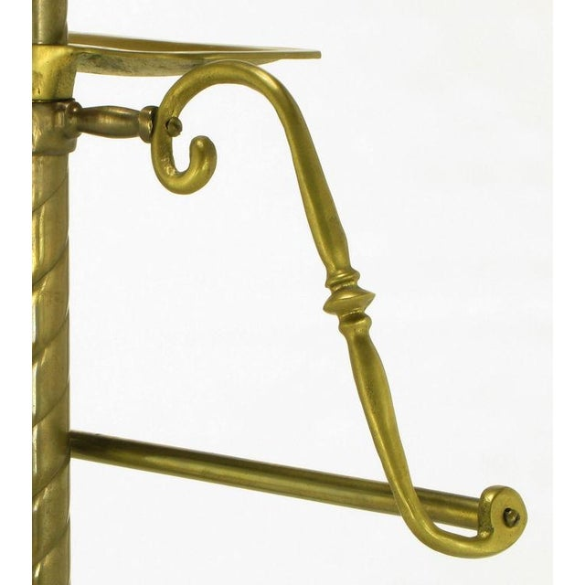 Image of Spiral Brass Valet With Brass Ball Finial & Tray On Tripod Base