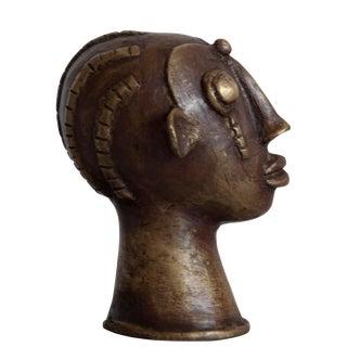 "Benin Head ""Gina"" Bronze Sculpture"