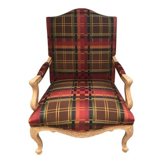 Red Silk Plaid Bergere Arm Chair