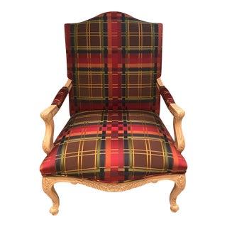 Red Silk Plaid Bergere Arm Chair