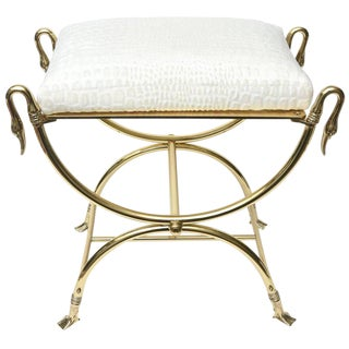 Italian Mid-century Solid Brass and Upholstered Bench