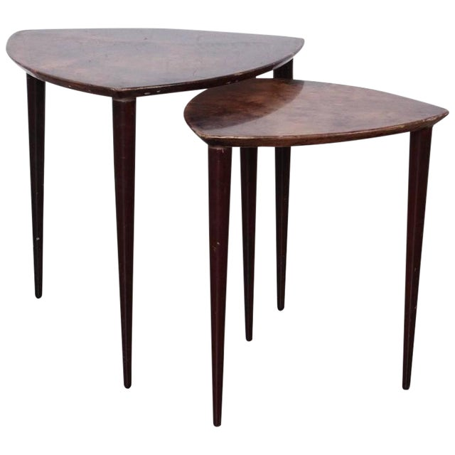 Pair of Goatskin Nesting Tables by Aldo Tura - Image 1 of 10