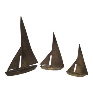 Mid-Century Brass Sail Boats - Set of 3