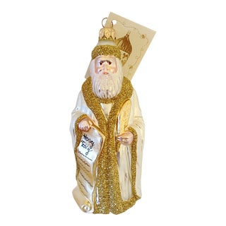Patricia Breen Glittered Santa Blown Glass Ornament