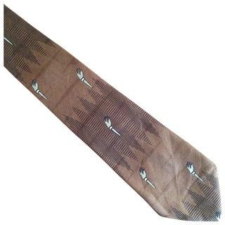 1960s Silk Brown Torch Print Tie