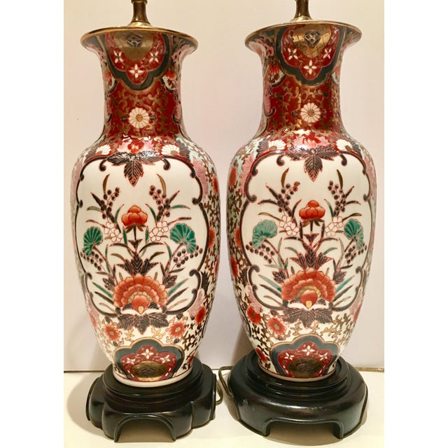 Hand-Painted Porcelain Imari Vase Table Lamps - A Pair - Image 4 of 10