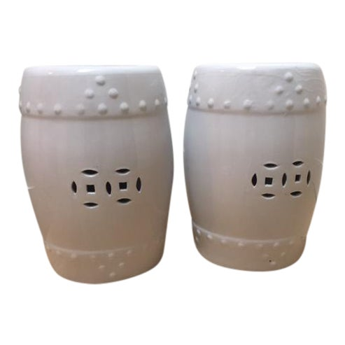 White Ceramic Garden Stools- A Pair - Image 1 of 5