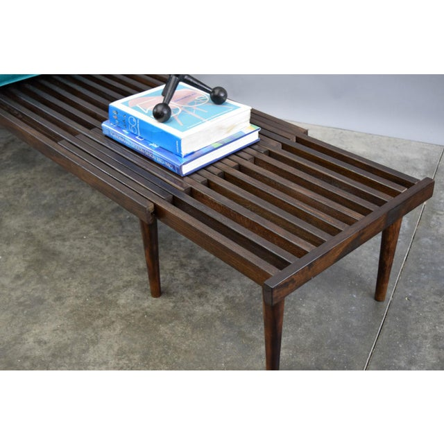 On Hold - John Keal for Brown Saltman Mid-Century Expandable Slat Bench or Table - Image 7 of 10