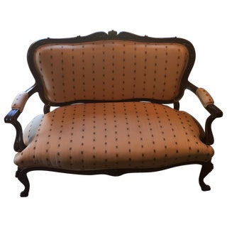 Louis XV Tan Settee Sofa