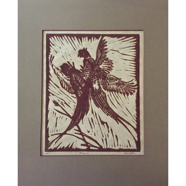 Pheasants Woodblock Print M. Nelson - Image 2 of 4