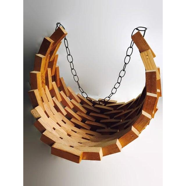 Large Mid-Century Wood Brutalist Hanging Planter - Image 4 of 7