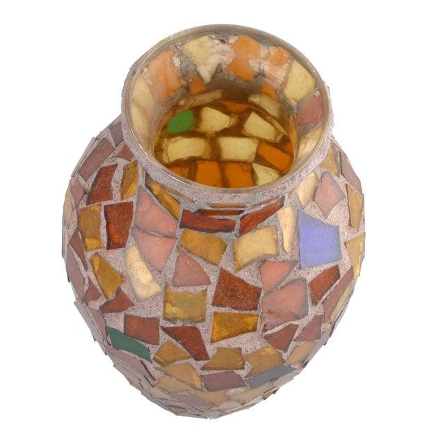 Amber Glass Mosaic & Terracotta Vase - Image 4 of 6