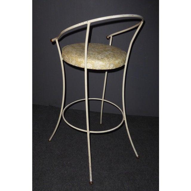 Vintage Mid-Century Modern White Wrought Iron Bar Stools- Set of 4 - Image 8 of 11