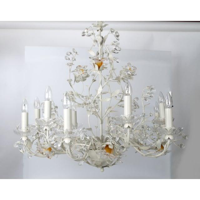 White Metal & Crystal Italian Chandelier - Image 2 of 11