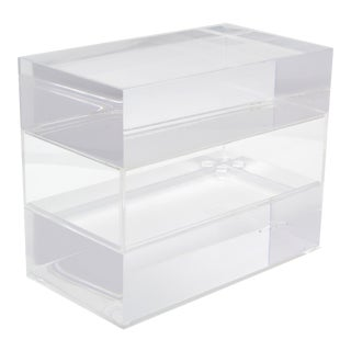 Jewelry Box in Clear Lucite w/ Transparent Center Piece