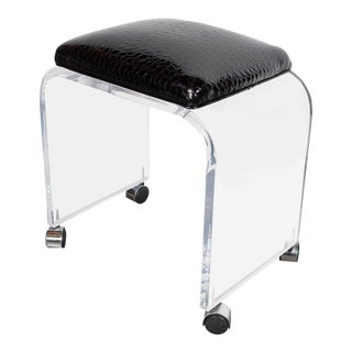 Mid-Century Modernist Waterfall Lucite Stool or Bench with Black Faux Crocodile