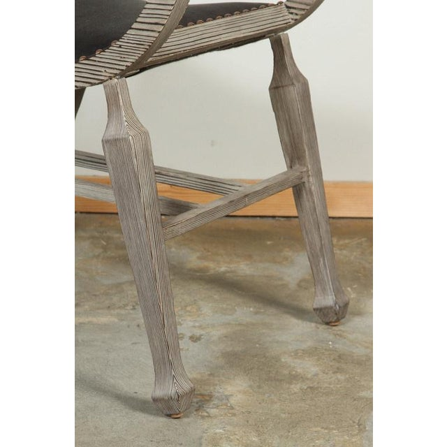 Customizable Paul Marra Distressed Fir Bench in Brown Horsehair - Image 2 of 7