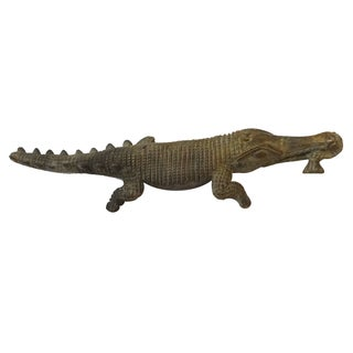 Bronze African Ashanti Akan Sculpture - Crocodile