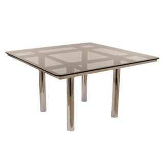 Chrome and Smoke Glass Dining Table by Tobia Scarpa for Gavina