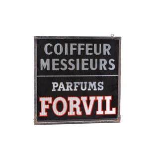 French Shop Sign of Painted Glass & Metal