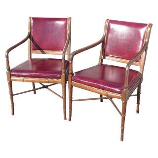 Cabot Wrenn Burgundy Leather Armchairs- A Pair