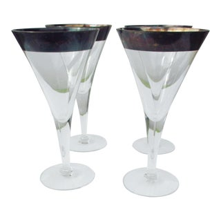 Dorothy Thorpe Silver Rim Wine Glasses - Set of 4