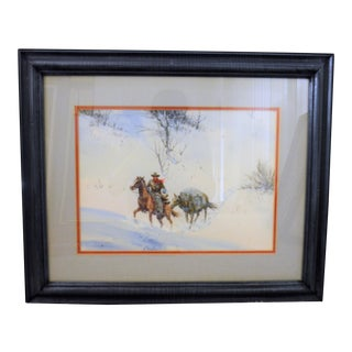 Vintage Cowboy in Snow , Watercolor Painting by Austin Deuel