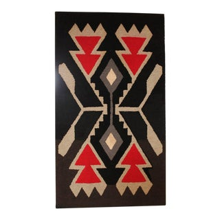 Mounted American, Hand Hooked Indian Design Rug