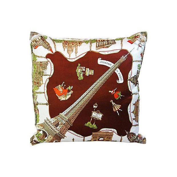 Souvenir de Paris Silk Scarf Pillow - Image 1 of 8