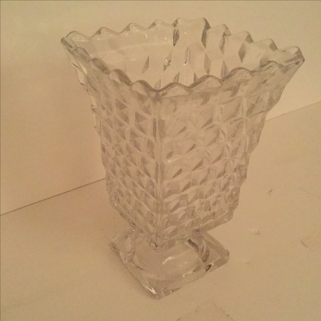 Image of 1950's Clear Cut Glass Vase