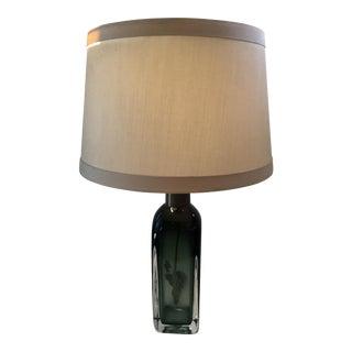 Nils Landberg for Orrefors Green Glass Table Lamp