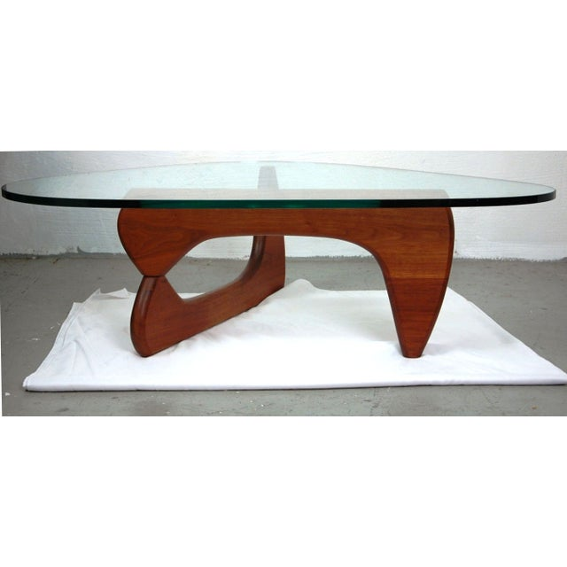 Noguchi Style Walnut & Glass Coffee Table - Image 2 of 7