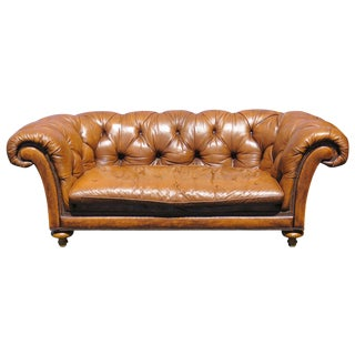 Baker Tufted Leather Sofa
